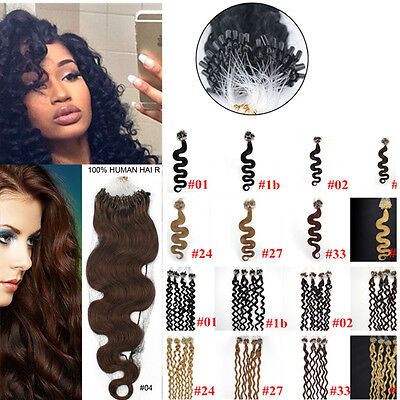 £24.34 • Buy 100/200S 20Inch Wavy&curly Loop Micro Rings Beads Remy Human Hair Extensions