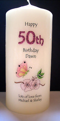 Personalised 18th 21st 30th 40th 50th 60th 65th 70th 80th Birthday Gift Candle  • 12.75£