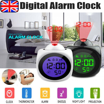 LED Digital Projection Alarm Clock Voice Talking Temperature Wall/Ceiling LCD UK • 8.54£