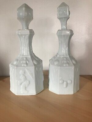 $69.95 • Buy Vintage Green Milk Glass Decanter With Stopper Geisha Pair(2)