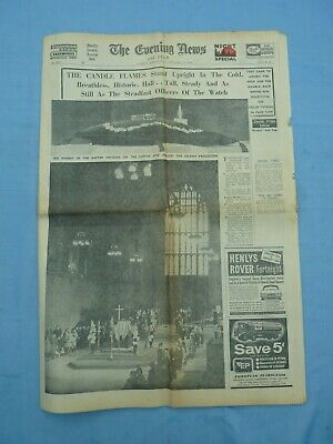 £6.50 • Buy 1965 Vintage Newspaper Winston Churchill Lies In State London