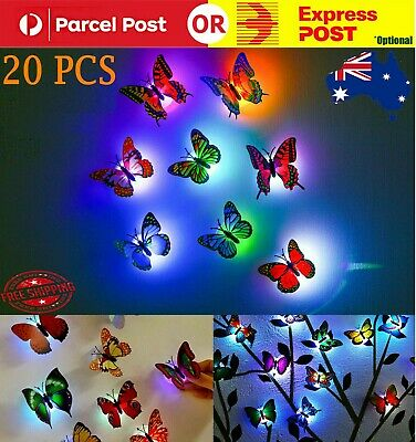 AU16.93 • Buy 20X Color Changing 3D Butterfly LED Night Light Home Kids Room Wall Decor Light
