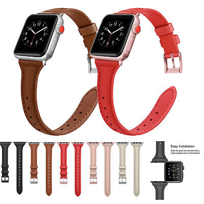 AU16.13 • Buy Women Slim Leather Band For Apple Watch Series 5 4 3 2 38mm 42mm 40mm 44mm Strap