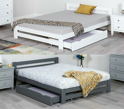 £149.99 • Buy Low Wooden Bed White Or Grey With Underbed Drawers And Mattress Option