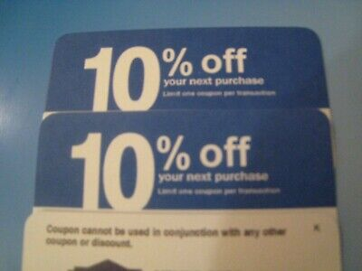 $10.95 • Buy (4X) Home Depot 10% OFF! Exp 9/15/2020 Lowes Coupon ONLY WORKS @ COMPETITOR