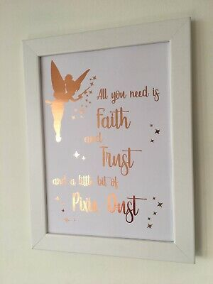 Tinkerbell Real Foil Print Rose Gold, Silver, Copper Wall Art Quote Decor Disney • 5.29£