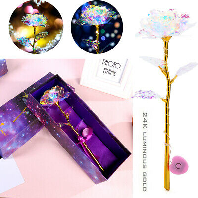 Valentine's Day 24K Galaxy Rose Romantic Crystal Flower Lovers Gifts Gift Box UK • 3.59£