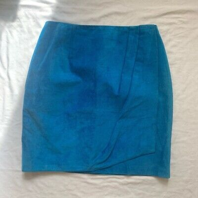 $ CDN34.47 • Buy Vintage Danier Leather Suede High Waisted Blue Electric Skirt Size 8