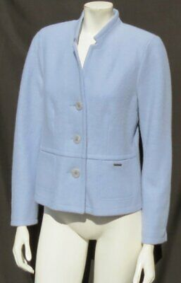 $71.99 • Buy GEIGER Austria Women's Soft Boiled Wool Blazer Jacket Top Baby Blue 40 US M 8 10