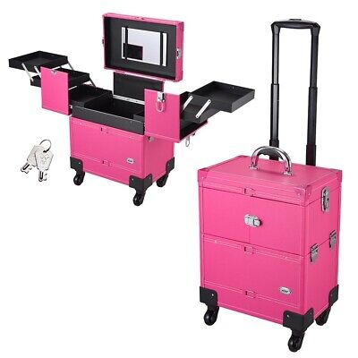 $98.27 • Buy Pink Professional Rolling Aluminium Cosmetic Makeup Trolley Case Bag On 4 Wheels