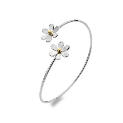 Solid Silver Bangle Double Daisy Twist Torque Hallmarked Boxed • 94.95£