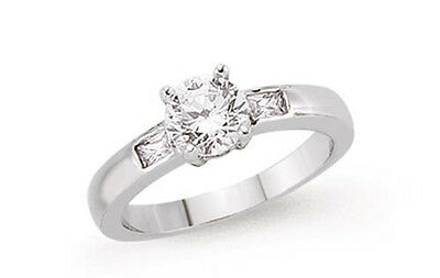 Platinum Plated Sterling Silver 5mm CZ Solitaire Ring With CZ Shoulder Accents • 41.38£