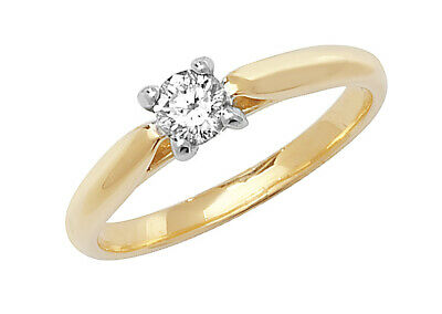 AU1606.78 • Buy Diamond Solitaire Engagement Ring 18ct Yellow Gold Four Claw 0.25ctw Certificate
