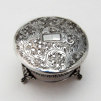 Japanese Engraved Small Jewelry Box Footed 950 Sterling Silver • 120.69£