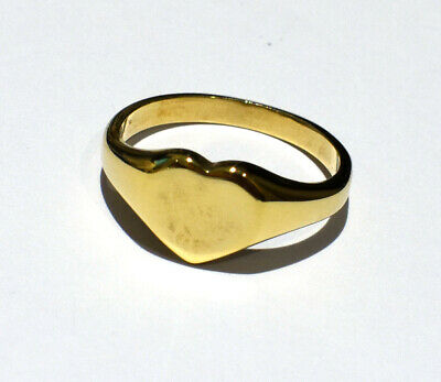 AU633.49 • Buy Gold Heart Signet Ring Solid Yellow Gold Heavy Hallmarked Ladies Size F - V