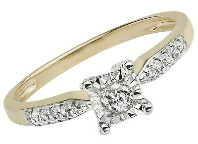 AU592.70 • Buy Diamond Solitaire Ring Engagement Yellow Gold 0.15ctw Size J - Q Certificate