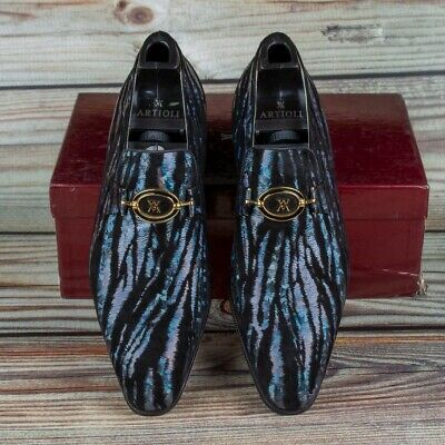 $ CDN397.17 • Buy NWB $2600 ARTIOLI Loafers Glittering Shoes Black 9.5US / 43EU Made In Italy