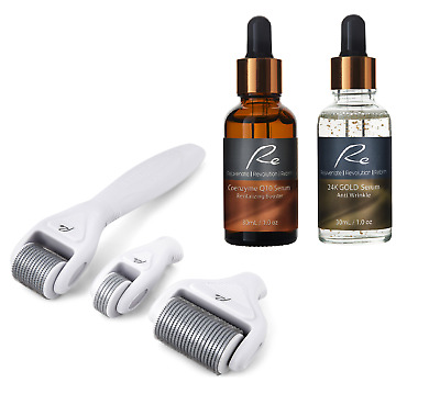 AU89.95 • Buy Micro-Needle Face And Body Derma Roller Set With Coenzyme Q10 + 24K Gold Serums