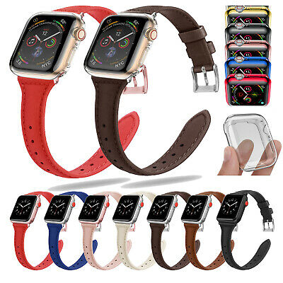 AU16.78 • Buy For Apple Watch Series 5 4 3 Slim Leather Band + Screen Case Cover 38/40/42/44mm