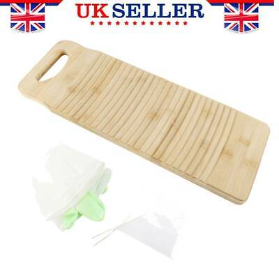 £9.83 • Buy Wooden Washboard Hand Washing Board Clothes Clean Laundry +1 Pair Gloves 50X18cm