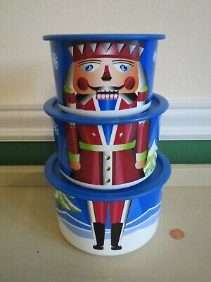 $16.50 • Buy Tupperware Nutcracker Soldier Nesting Stacking Christmas Canister Bowl Set 6pc