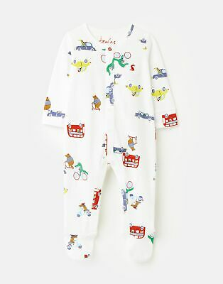 Joules 208564 Jersey Printed Babygrow With Feet - ANIMAL CAR CHALK • 10.36£