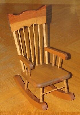 $19.94 • Buy Vintage 13  Wood Rocking Chair For Doll Or Teddy Bear - Wooden Spindle Handmade