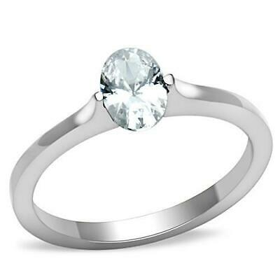 $4.75 • Buy Petite Solitaire Engagement Ring Stainless Steel Oval CZ 5x7mm