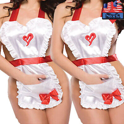 $11.68 • Buy Sexy-Lingerie Womens Bow Heart Apron Costume French Maid Cosplay Underwear US