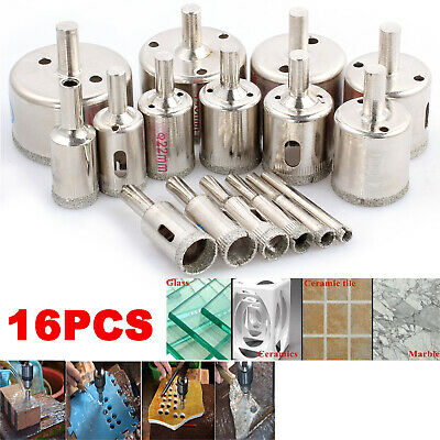 £16.62 • Buy 16pcs Diamond Cutter Coated Core Hole Saw Set Holes Saw Drill Bit Tile FOR Glass
