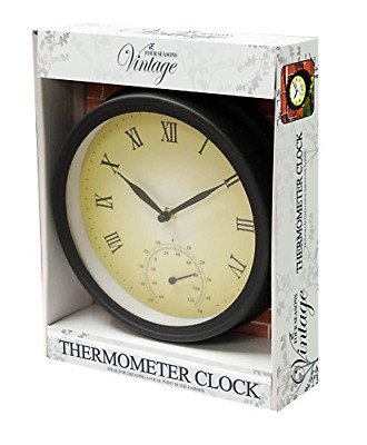£13.99 • Buy Traditional Wall Mounted Outdoor Garden & Patio Metal Clock & Thermometer Gct100
