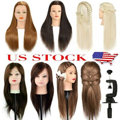 $27.88 • Buy 22/24/26  100% Real Human Hair Mannequin Head Hairdressing Training Model &Clamp
