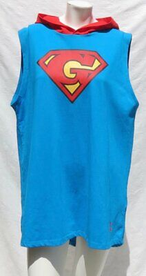 £29.05 • Buy Hand Made Super Girl GRRRL Blue Red Cotton Jersey Hoody HEIDI Style Top L XL