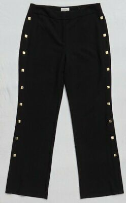 NEW CHICO'S Black Stretch Straight Leg Side Gold Stud Button Pants 00 US XS 2 4 • 35.97£