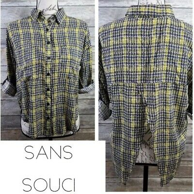 $12 • Buy SANS SOUCI Women's Plaid Top Size Small Tab Sleeve Open Back Mustard Yellow