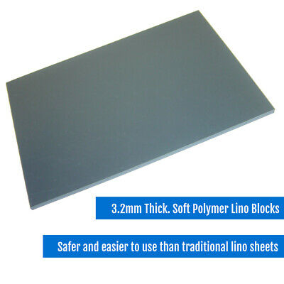 £6.15 • Buy Soft Polymer Lino Printing Blocks 3.2mm - Grey Safe And Easy To Use CHOOSE SIZE