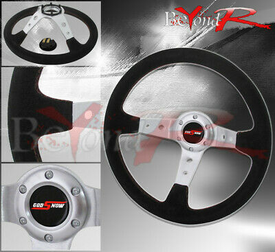 $ CDN52.16 • Buy 350mm Deep Dish Suede Black Leather Steering Wheel Godsnow Horn Button Badge