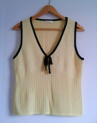 N.PEAL New Cashmere Sleeveless Top Jumper Vest Citrus Yellow Black Trim  M • 45£