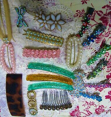 $29.95 • Buy Vintage HAIR JEWELRY BARRETTE CLIPS COMBS Rhinestone LARGE Lot Of 25