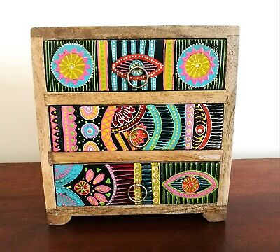 Small Hand Painted Chest Of Drawers, African Style, Fair Trade, Made In India • 49.99£