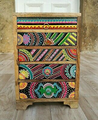 Hand Painted Chest Of Drawers,African Style,Fair Trade,5 Drawer,Made In India • 59.99£