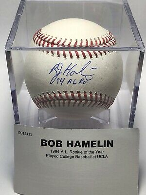 $ CDN39.62 • Buy Bob Hamelin  94 AL ROY   Inscription Autographed Baseball TRISTAR COA Royals