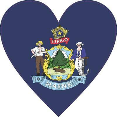 $5.99 • Buy 4X4 Maine State Flag Heart Bumper Sticker Vinyl Vehicle Decal Cup Stickers