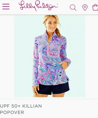 $65 • Buy NWT Lilly Pulitzer Killian Popover Half Zip Pink Tropics Mermaids Call Size S