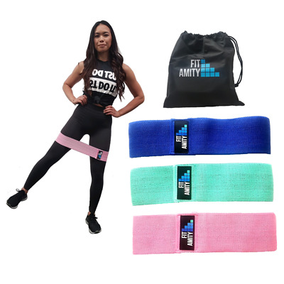 AU39.95 • Buy Fit Amity - Resistance Booty Band Set   3 Non Slip Fabric Exercise Bands & Bag