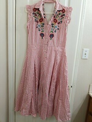 $30 • Buy Zara Embroidered Red Striped Dress M
