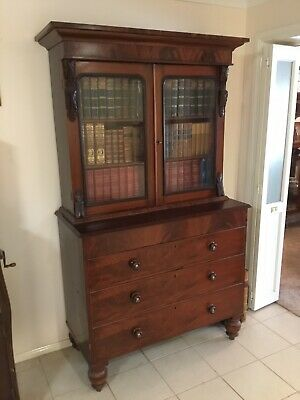 AU950 • Buy Antique Flame Mahogany Bookcase (contents Included!)