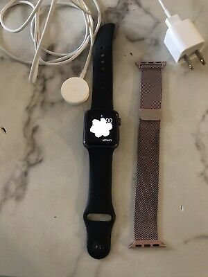 $ CDN82.82 • Buy Apple Watch Series 1 38mm Aluminum Case Black Sport Band Rose Gold Band EUC