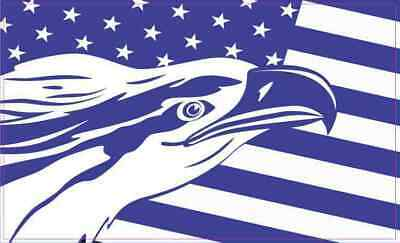5×3 Blue And White Eagle American Flag Sticker Vehicle Stickers Vinyl Car Decal • 4.33£