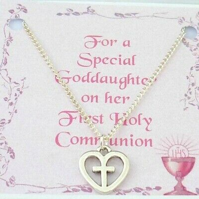 Girls Necklace, Cross In Heart. First Holy Communion Day, Gift For Daughter Etc • 7.99£